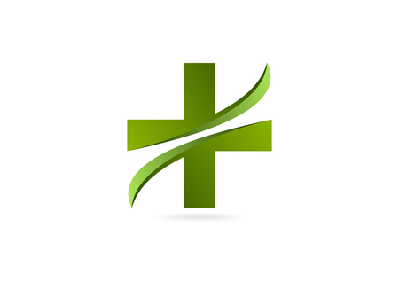 simbolo medicina: cruz verde del vector del dise�o logotipo de la farmacia. Vectores