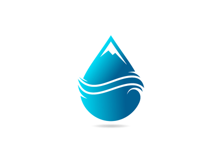 natural mountain water drop business  symbol design vector Illustration