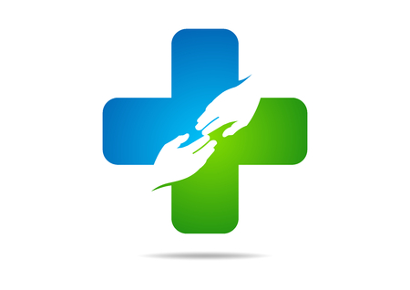 logo medicina: médico cruz mano amiga diseño rlogo vecto