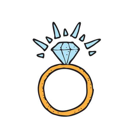 digitally drawn illustration design with theme of Diamond ring