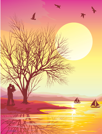 sunset colored vector illustration.