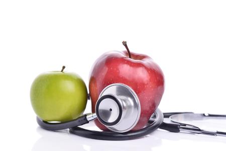 Konzept für Ernährung, Gesundheit, Ernährung oder Krankenversicherung. In weißem Hintergrund Standard-Bild