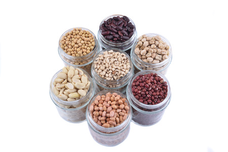 aduki bean: beans with isolated white Stock Photo