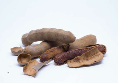 detailed tamarind fruits from outside and inside Stock Photo