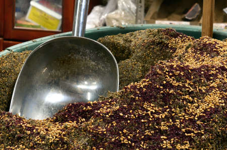 Grinded Thyme with sesame granules and grinded sumac photo
