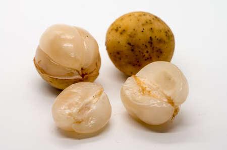 Fresh Longkong fruit isolated on white background.