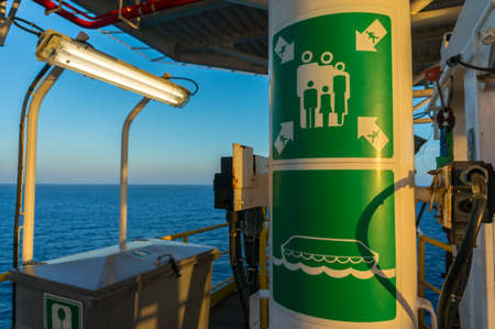 Emergency assembly master point on offshore jackup drilling rig.
