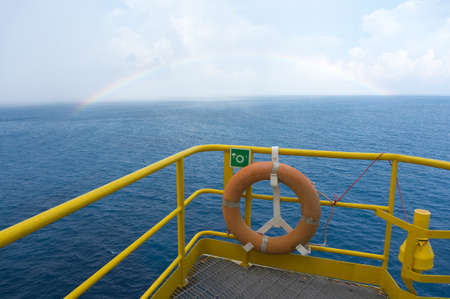 Sea view from offshore jack up drilling rig.