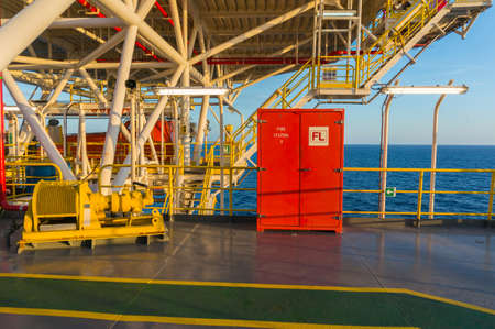 Emergency fire station on offshore jackup drilling rig. Stock Photo