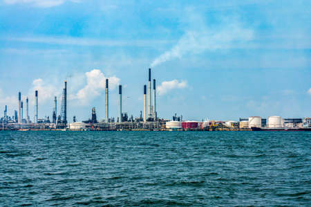 Oil refinery view from boat.