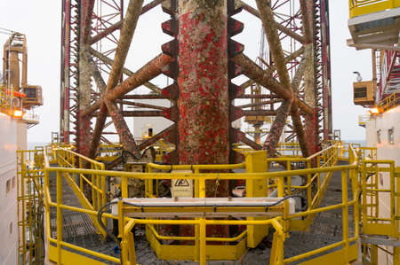 Leg of offshore jackup drilling rig.