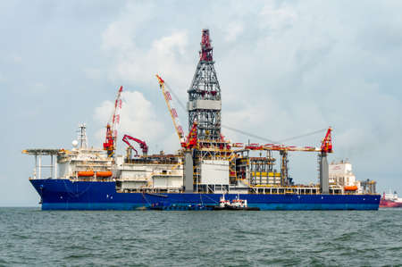 Offshore drilling ship for deep water oil and gas well operation. Stock Photo