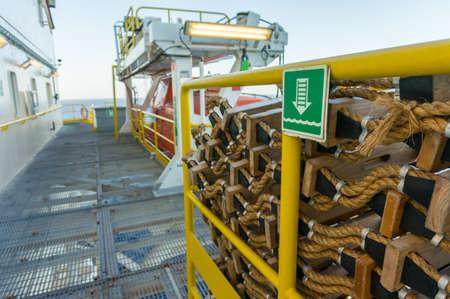 Emergency ledder on offshore jackup drilling rig for secondary emergency evacuation.