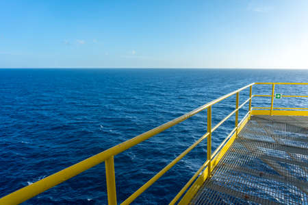 Sea view from offshore jackup drilling rig. Stock Photo