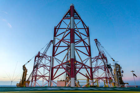 Offshore jackup drilling rigs legs.