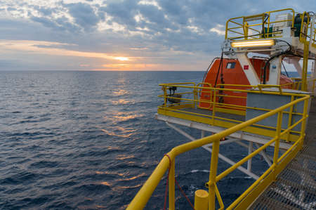 Sunrise view from offshore jackup drilling rig. Stock Photo