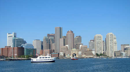 Boston Landscape at a clear day  Editorial