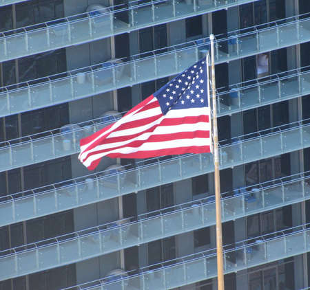 USA flag in fornt of a building  photo