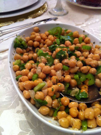 Chick peas on a table