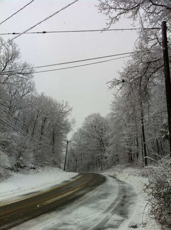 wire: Road in a white snowy day