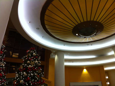 celling: Chessman tree inside a hotel with a big Celling