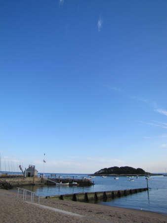 beach in a blue clear sky