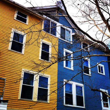 yellow house: Blue and yellow house