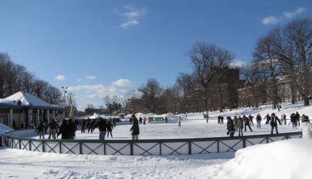 Snowy winter at Boston Common frog pond, Massachusetts, USA
