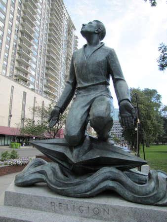 boston common: Statue to  religion in Boston Common, Boston, Ma , USA