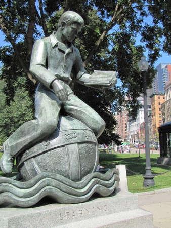 boston common: Statue to  learning in Boston Common, Boston, Ma , USA