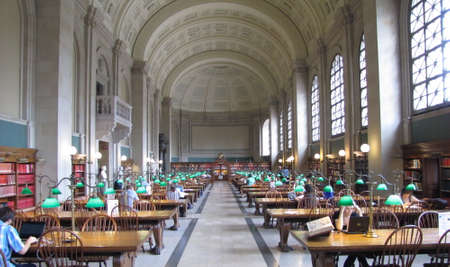 Interior view of reading area of historic Boston Public Library