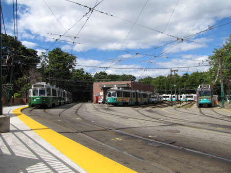 green line: Boston Collage station in the Green Line of T transit in Boston Editorial