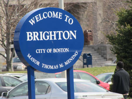 brightontown welcome sign in the Boston USA Editorial