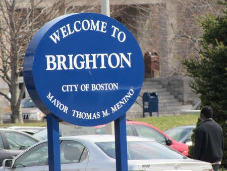 brightontown welkom teken in Boston USA
