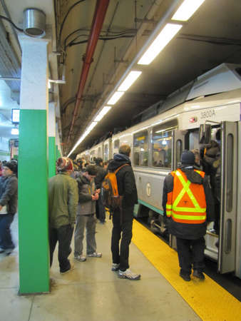 green line: the green line train in Boston - New Years Eve of 2012