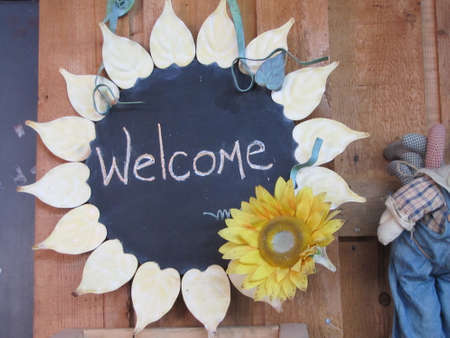 farm shop: welcome sign in a farm shop Stock Photo