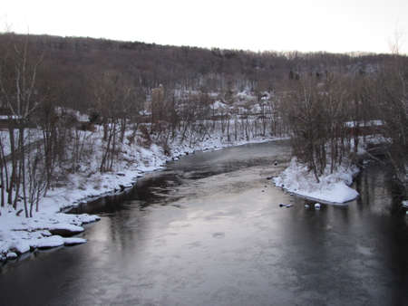 Farmington River in connecticut during  winter