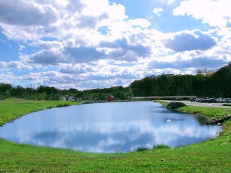 small pond in new England  country side