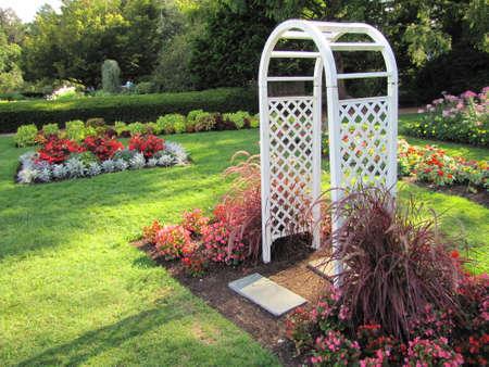 White arbor in  Elizabeth Park, in Hartford, Connecticut Stock Photo