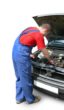 Mechanic fixing car. Auto repair workshop professional. Isolated, clipping path Stock Photo