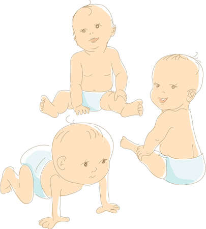 Funny babies in diapers, different positions - crawling, sitting, looking. Artistic vector illustration