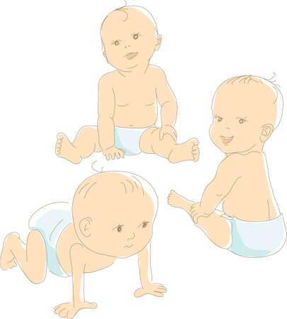 Funny bebés que usan pañales, diferentes posiciones, como gatear, sentarse, mirar. Ilustración vectorial Artístico