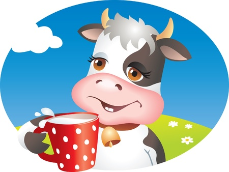 Funny cartoon cow drinking cup of milk. Lawn, flowers and sky.