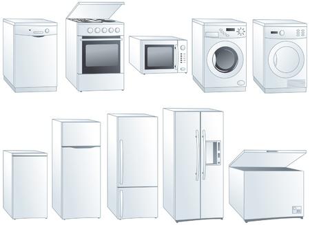 Kitchen home appliances: fridge, oven, stove, microwave, dishwasher, washing machine, dryer.  Vectores