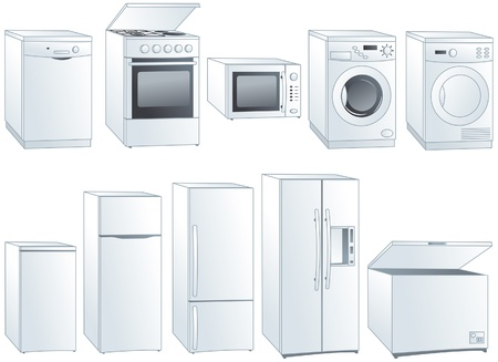 Kitchen home appliances: fridge, oven, stove, microwave, dishwasher, washing machine, dryer.