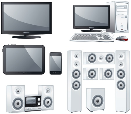 Electronic devices : TV, computer, tablet, smartphone, sound systems objects illustration set Vectores
