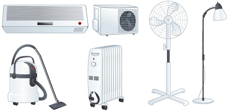 Home electric appliances set  air conditioner, fan, floor lamp, vacuum cleaner, oil heater Isolated illustrations