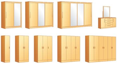 Meubelen slaapkamer - modulaire kasten en dressing commode met spiegel illustratie objecten