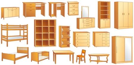 Wooden furniture set: commode, bookshelf, dresser, bunk, bed, cot, shoe case, chair, table, desk, wardrobe illustration