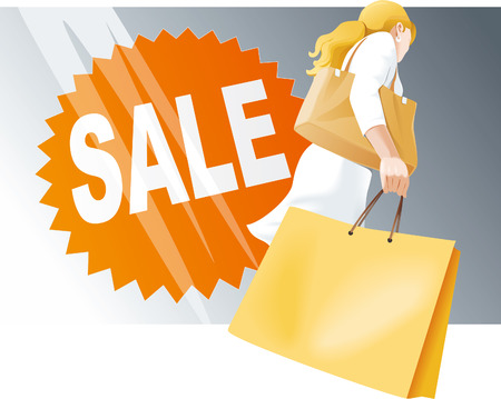 Shopping woman with bags and Sale sign